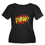 Pow! 2 Women's Plus Size Scoop Neck Dark T-Shirt