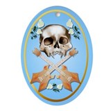Skull-Guitar-White Rose Ornament (Oval)