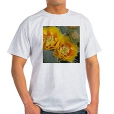 Yellow Cactus Flower (square) Ash Grey T-Shirt