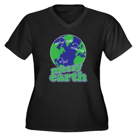 messy earth Women's Plus Size V-Neck Dark T-Shirt