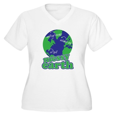 messy earth Women's Plus Size V-Neck T-Shirt