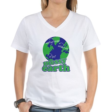 messy earth Women's V-Neck T-Shirt