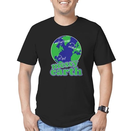messy earth Men's Fitted T-Shirt (dark)