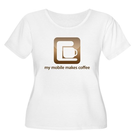 my mobile makes coffee Women's Plus Size Scoop Nec
