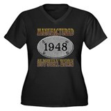 Manufactured 1948 Women's Plus Size V-Neck Dark T-