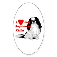 Japanese Chin valentine Oval Decal