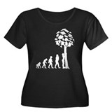 Tree Hugger Women's Plus Size Scoop Neck Dark T-Sh