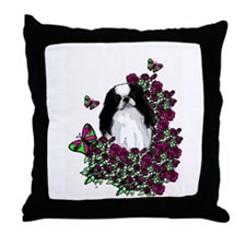 floral Japanese Chin Throw Pillow