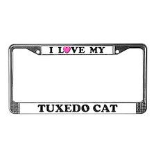I Love My Tuxedo Cat License Plate Frame