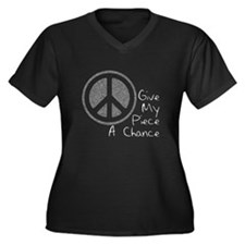Give Piece A Chance Women's Plus Size V-Neck Dark