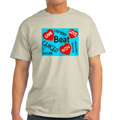 Beat Cancer! Live! Love! Win! Ash Grey T-Shirt