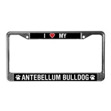 I Love My Antebellum Bulldog License Plate Frame