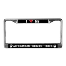 I Love My American Staffordshire License Plate