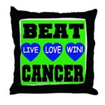 Beat Cancer! Live Love Win! Throw Pillow