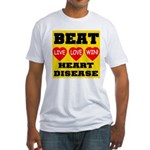Live Love Win Beat Heart Dise Fitted T-Shirt