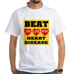 Live Love Win Beat Heart Dise White T-Shirt