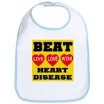 Live Love Win Beat Heart Dise Bib