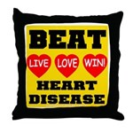 Live Love Win Beat Heart Dise Throw Pillow
