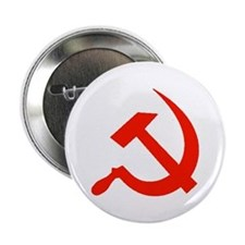 Red Hammer & Sickle Button