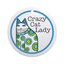 CRAZY CAT LADY...Porcelain Ornament - with Ribbon