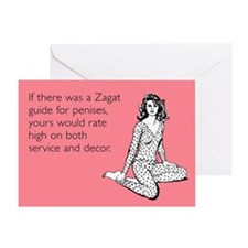 Zagat Guide For Penises Greeting Card