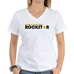 World's Best Dad Rockstar Women's V-Neck T-Shirt