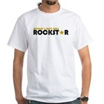 World's Best Dad Rockstar White T-Shirt
