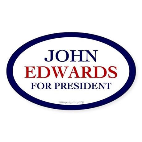 John Edwards for President Oval Sticker