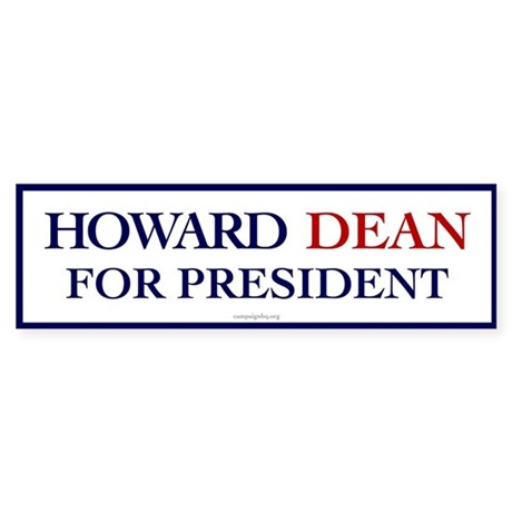 Howard Dean for President Bumper Sticker