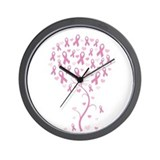 Pink Ribbon Breast Cancer Tre Wall Clock