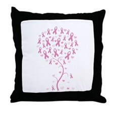 Pink Ribbon Breast Cancer Tre Throw Pillow