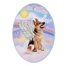 German Shepherd Angel Ornament (Oval)