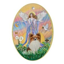 Blessing a Papillon (red sable) Ornament (Oval)