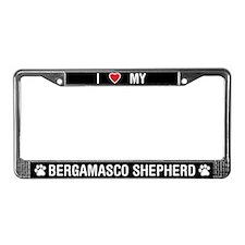 I Love My Bergamasco Shepherd License Plate Frame