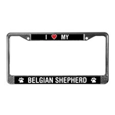 I Love My Belgian Shepherd License Plate Frame