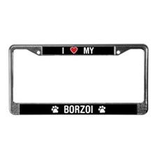 I Love My Borzoi License Plate Frame
