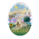 Cloud Angel & Wheaten Terrier Ornament (Oval)