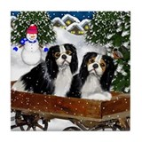 CAVALIER KING CHARLES SPANIEL WINTER Tile Coaster