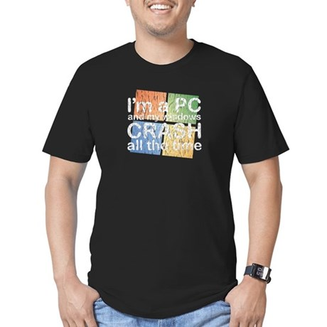 I'm a PC and my windows CRASH Men's Fitted T-Shirt