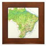 Brazil Map Framed Tile