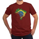 Brazil Flag/Map Distressed T