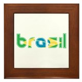 Brazil Flag in Name Framed Tile