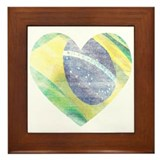 Brazil Flag Heart Framed Tile