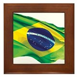 Brazil Flag Framed Tile