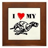Greyhound Framed Tile/Heart Racer