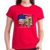 Golden Retriever Patriotic Women's Red T-Shirt