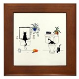Two Cats In The Bath Framed Tile