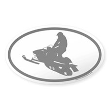 Snowmobile Euro Oval Sticker (jumping)