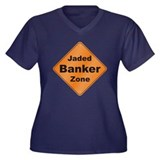Jaded Banker Women's Plus Size V-Neck Dark T-Shirt