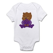 Teddy Bear Alzheimers Ribbon Infant Bodysuit